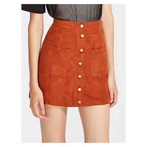 Brown Orange Front Pockets Faux Suede Skirt